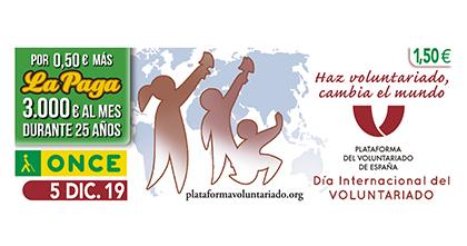 Cupón de la ONCE dedicado al Día Internacional del Voluntariado 051219