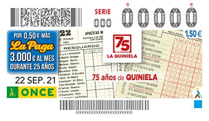 Cupón de la ONCE dedicado al 75 aniversario de La Quiniela