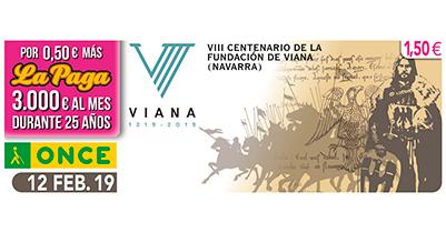Cupón dedicado al VIII Centenario de la fundación de Viana Navarra 120219