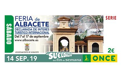 Cupón de la ONCE dedicado a la Feria de Albacete 140919