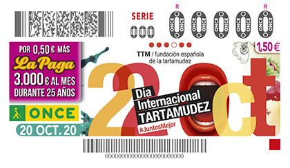 Cupón de la ONCE dedicado al Dia Internacional de la Tartamudez