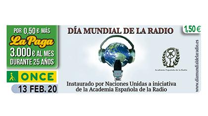 Cupón de la ONCE dedicado al Día Mundial de la Radio 130220