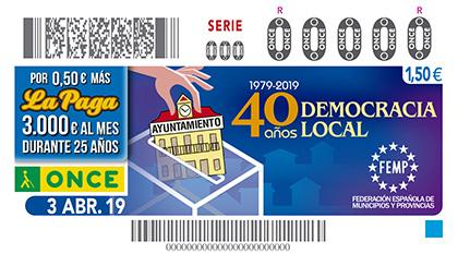 Cupón de la ONCE dedicado a los 40 años de democracia local