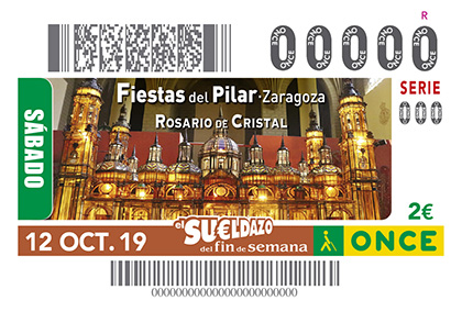 Cupón de la ONCE dedicado al Rosario de Cristal Fiestas del Pilar de Zaragoza 121019