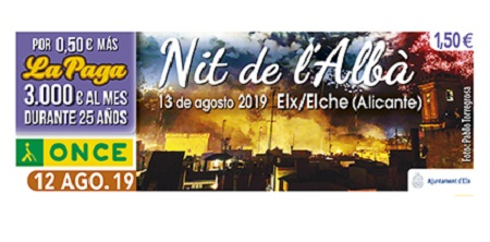 Cupón de la ONCE dedicado a la Nit de l`Albà de Elche 12 agosto 2019