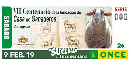 Cupón de la ONCE dedicado al VIII Centenario d ela fundación de Casa de Ganaderos, Zaragoza