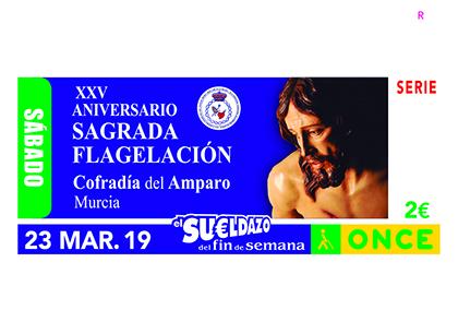 Cupón de la ONCE dedicado al 25 aniversario de la Sagrada Flagelación Cofradía del Amparo de Murcia
