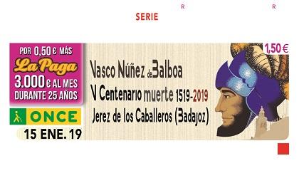 Cupón dedicado al V Centenario del fallecimiento del descubridor Vasco Núñes de Balboa150119