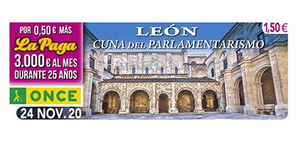 Cupón dedicado  a León cuna del parlamentarismo