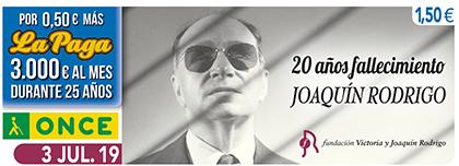 Cupón de la ONCE dedicado al 20 aniversario del fallecimiento del maestro Rodrigo 030719