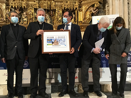 Foto de familia de la presentación del cupón dedicado al VIII Centenario de la Catedral de Burgos