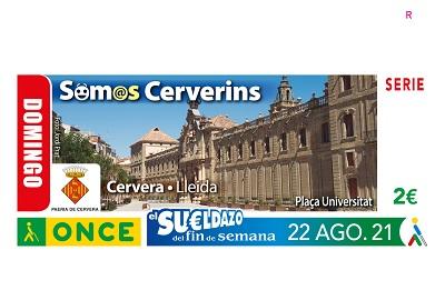 Cupón del 22 de agosto dedicado a Cervera (Lleida)