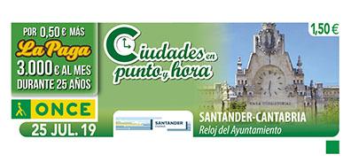 Cupón dedicado al reloj del Ayuntamiento de Santander