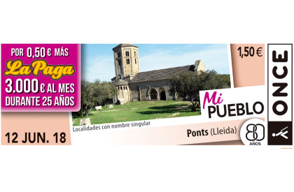 Cupón del 12 de junio de 2018 dedicado a la localidad de Ponts (Lleida)