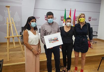 Foto de familia de la presentación del cupón del 10 de agosto dedicado al Mercado de Plasencia