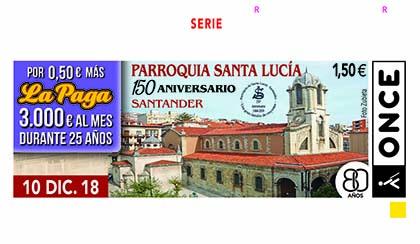 Cupón de la ONCE dedicado al 150 aniversario de la Parroquia de Santa Lucía de Santander101218