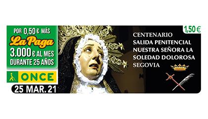 Cupón dedicado a la Virgen de la Soledad Dolorosa de Segovia