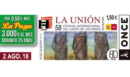 Cupón del 2 de agosto de 2018 dedicado al Festival Internacional del Cante de las Minas
