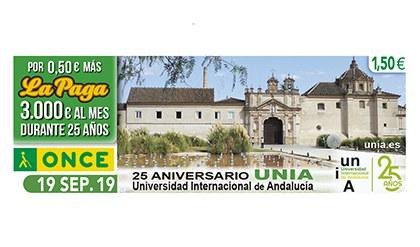 Cupón de la ONCE dedicado al 25 aniversario de la Universidad Internacional de Andalucía 190919