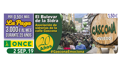 Cupón de la ONCE dedicado a los 20 años del Bulevar de la Sidra de Oviedo 020919