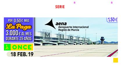 Cupón de la ONCE dedicado al Aeropuerto Internacional Región de Murcia