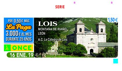 Cupón de la ONCE dedicado a la localidad de Lois 160119
