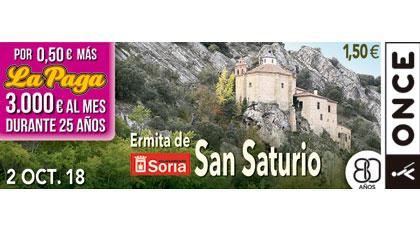 Cupón del 2 de octubre dedicado a la Ermita de San Saturio de Soria