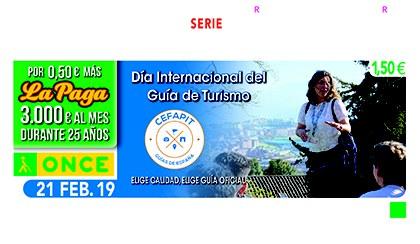 Cupón de la ONCE dedicado al Día Internacional del Guía de Turismo