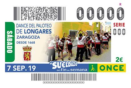 Cupón de la ONCE dedicado al Dance del Paloteo, de Longares (Zaragoza)