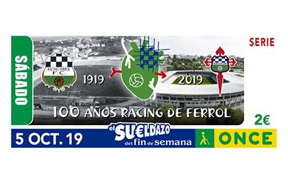 Cupón de la ONCE dedicado al centenario del Racing Club de Ferrol SAD