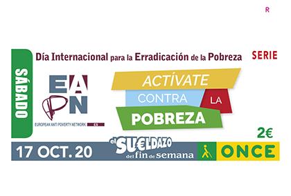 Cupón de la ONCE dedicado al Día Internacional para la Erradicación de la Pobreza
