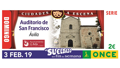 Cupón de la ONCE dedicado al Auditorio San Francisco, de Ávila