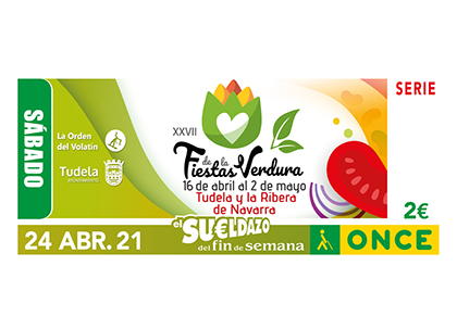 Cupón de la ONCE dedicado a la 27 Edición de las Fiestas de la Verdura, de Tudela Navarra