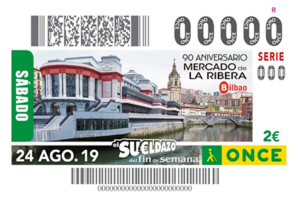 Cupón de la ONCE dedicado al 90 aniversario del Mercado de la Ribera de Bilbao