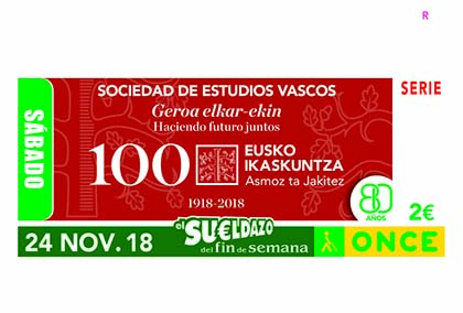 Cupón de la ONCE dedicado a los 100 años Sociedad de Estudios Vascos