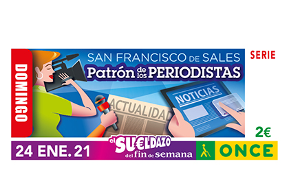 Cupón de la ONCE dedicado a San Francisco de Sales Patrón de los periodistas
