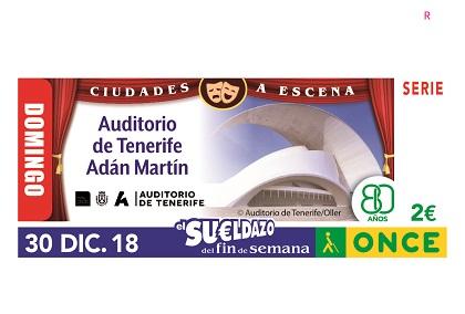 Cuoón de la ONCE dedicado al Auditorio de Tenerife Adán Martín 301218