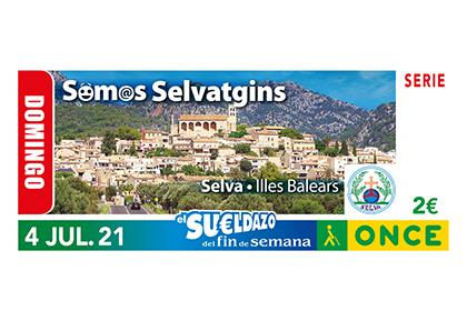 Cupón de la ONCE dedicado al Gentilicio de Selva, Illes Balears