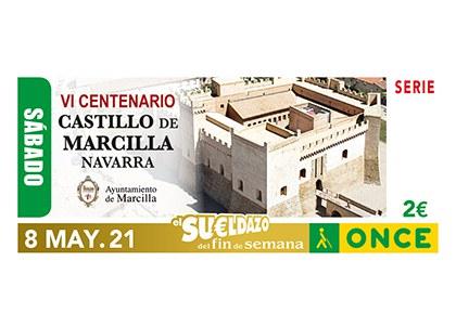 Cupón de la ONCE dedicado al VI Centenario del Castillo de Marcilla, en Navarra
