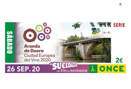 Cupón de la ONCE dedicado a Aranda Capital Europea del Vino 2020