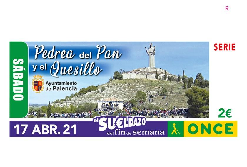 Cupón de la ONCE dedicado a la Pedrea del Pan y Quesillo de Palencia