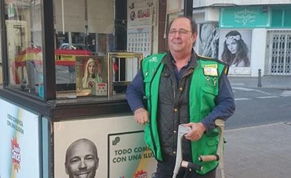 El vendedor José Vicente Fernández Herreros, que ha dejado los premios en Ciudad Real