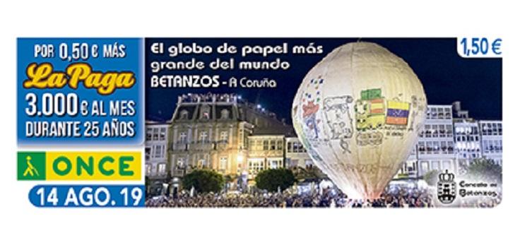 Cupón de la ONCE dedicado al Globo de papel más grande del mundo, en Betanzos 140819