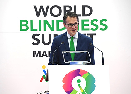 Fernando Riaño, durante su intervención en la World Blindness Summit Madrid 2021