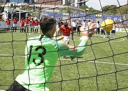 Penalti lanzado por Antonio Martín Gaitán durante el Mundial de fútbol para ciegos