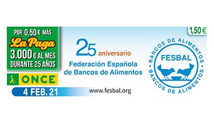 Cupón dedicado al 25 aniversario de la Federación Española de Bancos de Alimentos
