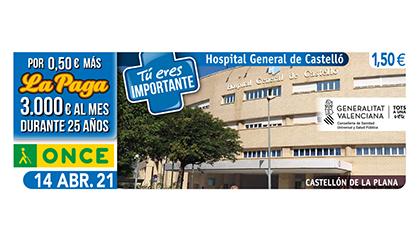 Cupón de la ONCE dedicado al Hospital de Castellón