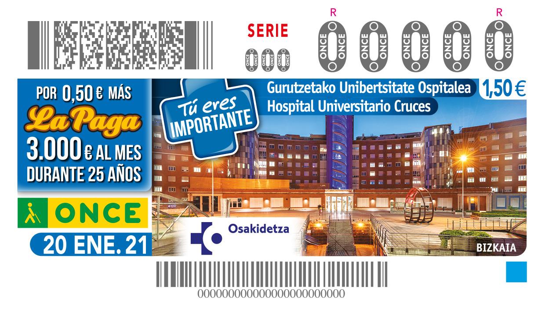 Cupón de la ONCE dedicado al Hospital Universitario Cruces
