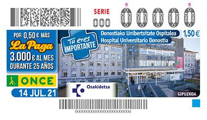 Cupón de la ONCE dedicado al Hospital Universitario de Donostia