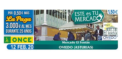 Cupón de la ONCE dedicado al Mercado El Fontán de Oviedo